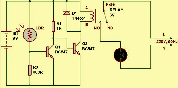light sensor circuit diagram with working operation rh edgefx in Relay Controlling Two Circuits Chip Control Relay Pic