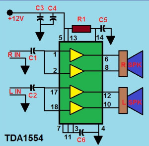22w Audio Amplifier Circuit