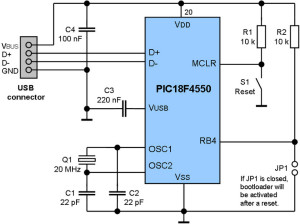 Schematic of Bootloader Microcontroller