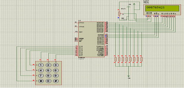 Circuit Diagram of Keypad Interfacing with 8051 Microcontroller