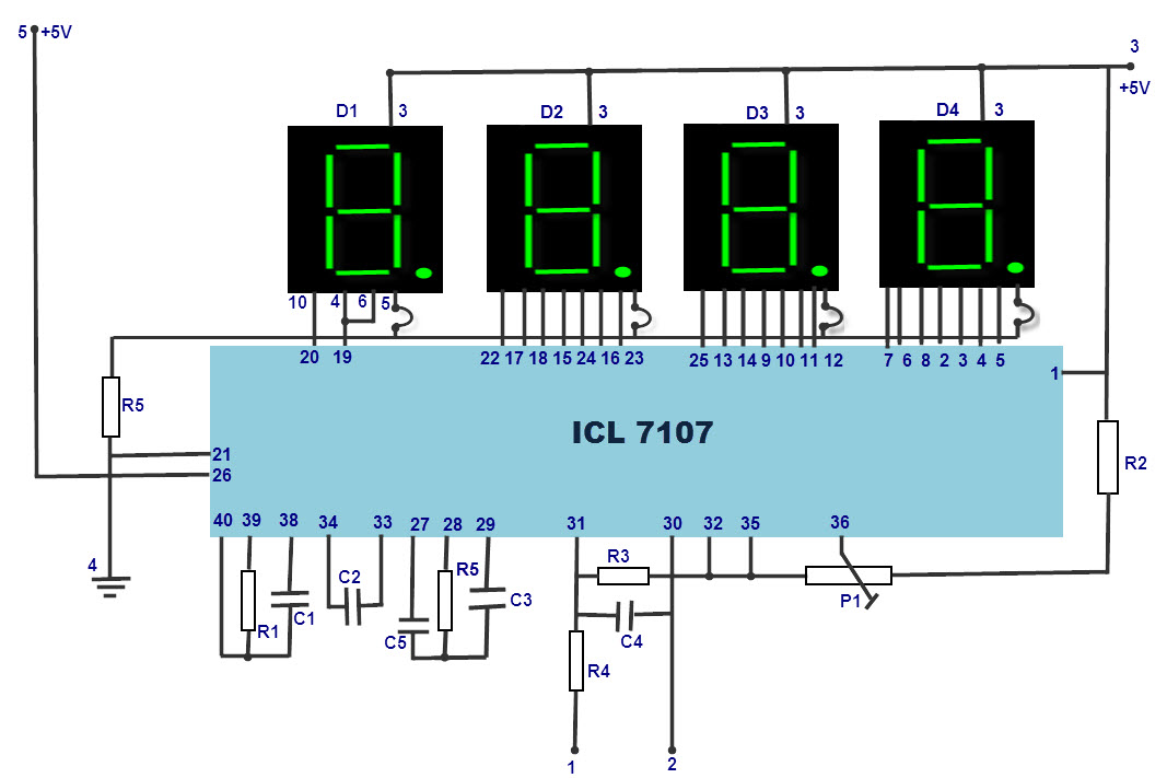 LED Digital Voltmeter Circuit Diagram with IC7107