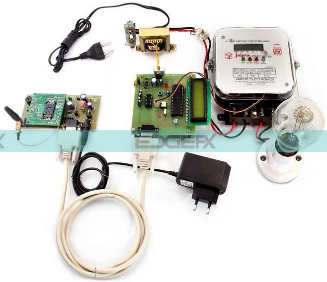 GSM based Monthly Electricity Energy Meter Billing Project Circuit Diagram by Edgefxkits.com