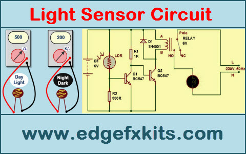 simple light sensor circuit and working operation rh edgefx in schematic diagram of light sensor schematic diagram of light sensor