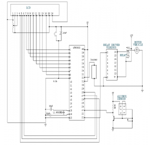 Ciruit Diagram of Automatic Engine Locking System Through Alcohol Detection For Drunken Drivers